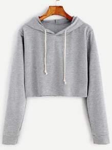 Sudadera corta con capucha - gris claro