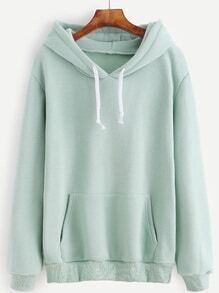 Sweat-shirt en lacet avec capuche et poche - vert clair
