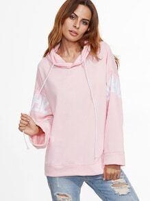 Sweat-shirt imprimé lettre avec capuche et lacet - rose