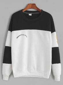Buy Black White Contrast Print Dropped Shoulder Seam Sweatshirt