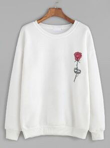 Sweat-shirt imprimé rose - blanc