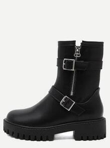 Black PU Two Buckle Mid Calf Boots