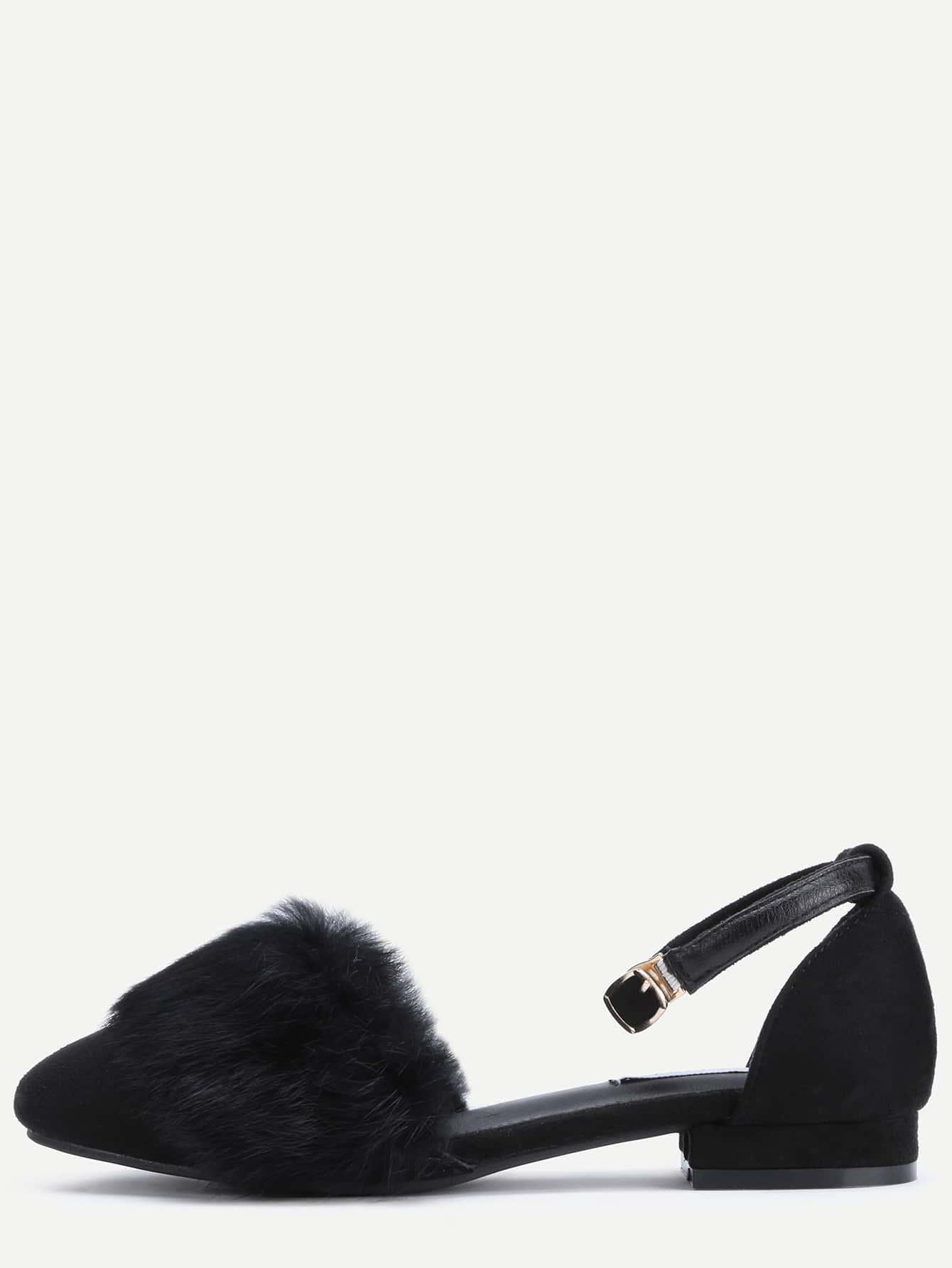 sandales en su d avec fourrure noir french romwe