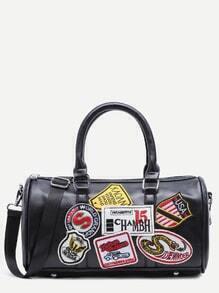 Black Faux Leather Logo Patch Barrel Bag