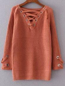 Jersey con escote V de ojales y cordón - naranja