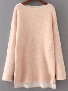 Jersey con hombro caído y abertura lateral - rosa