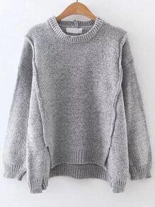 Jersey asimétrico de canalé - gris