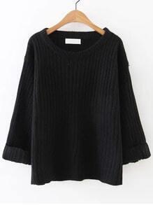 Jersey de canalé con puño enrollado - negro