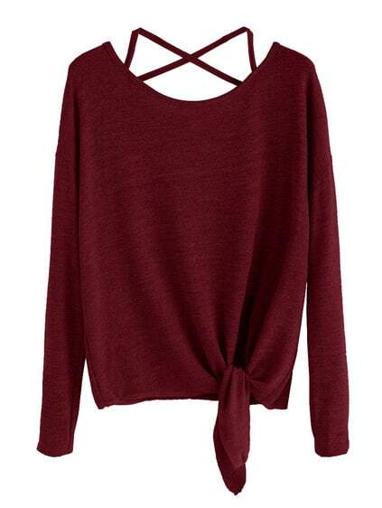 Burgundy Drop Shoulder Criss Cross Tie Front T-Shirt