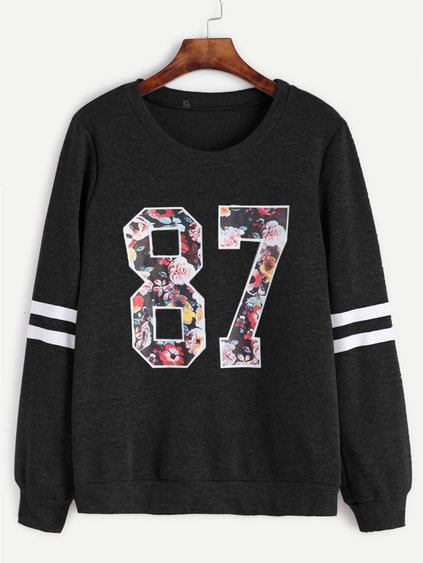 Sweat-shirt imprimé varsity - noir