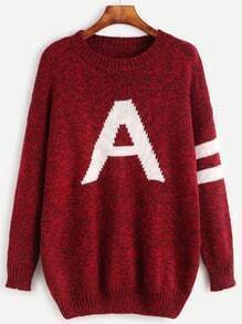 Burgundy Letter Pattern Striped Trim Sweater