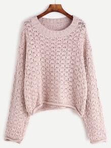 Jersey con cuello redondo de manga larga - rosa claro