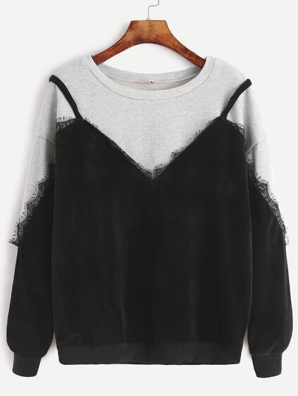 Color Block Lace Trim 2 In 1 Sweatshirt