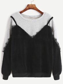 Color Block Lace Trim 2 In 1 Sweatshirt