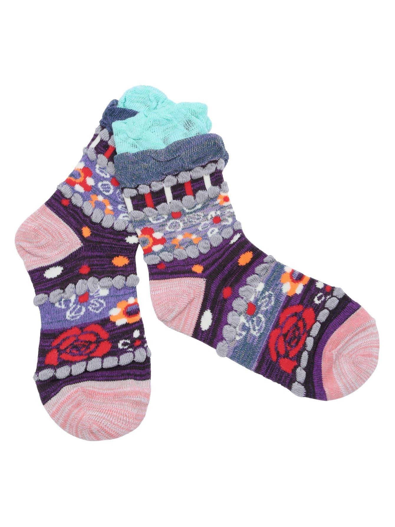 Multicolor National Style Rib Cuff Socks sock161025307