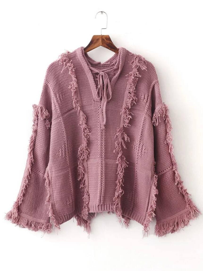 Pink Tie V Neck Fringe Trim Dip Hem Sweater