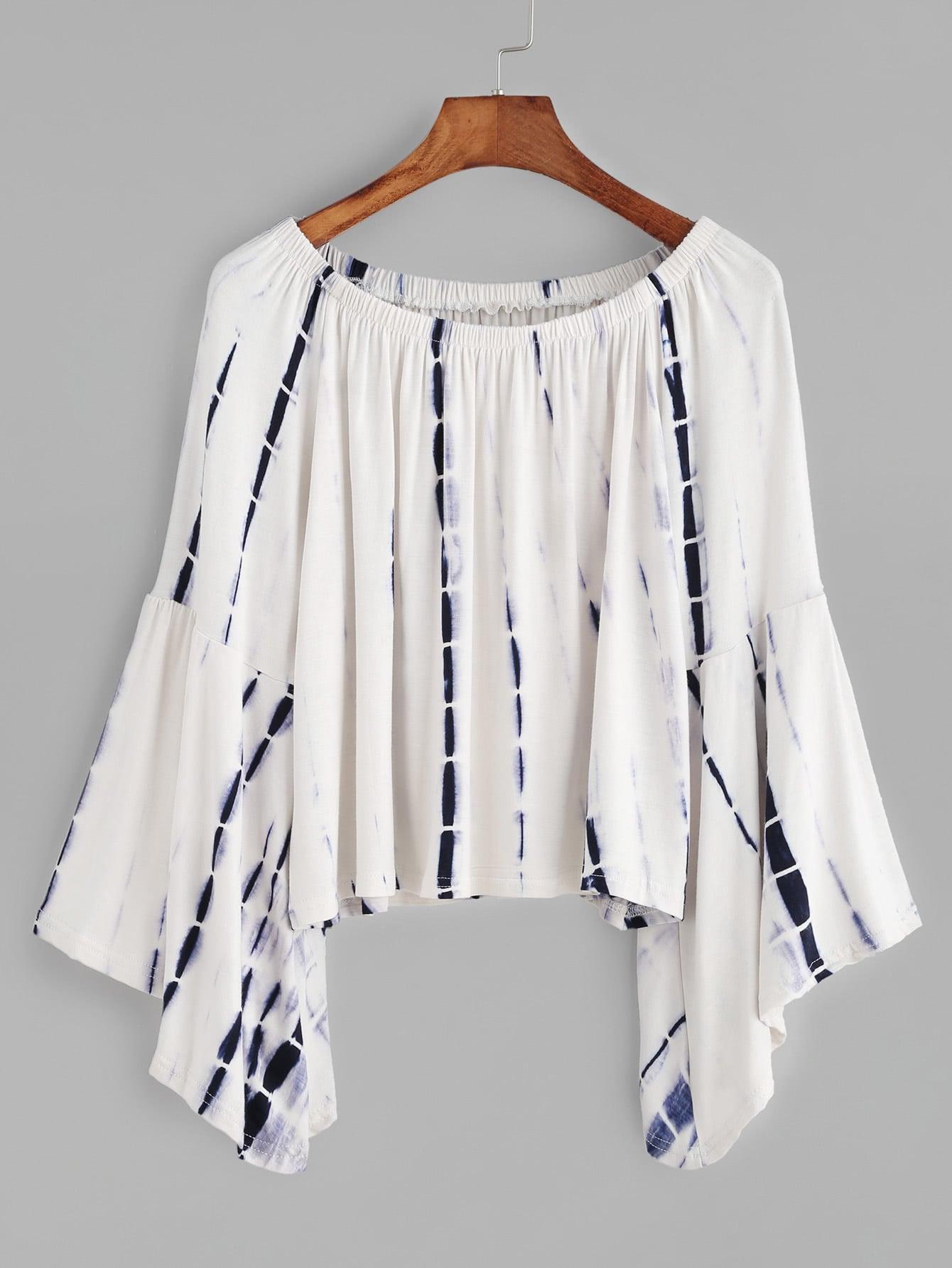 Tie Dye Boat Neck Bell Sleeve T Shirt