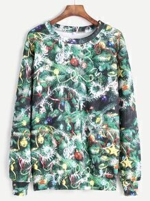 Green Christmas Tree Print Sweatshirt