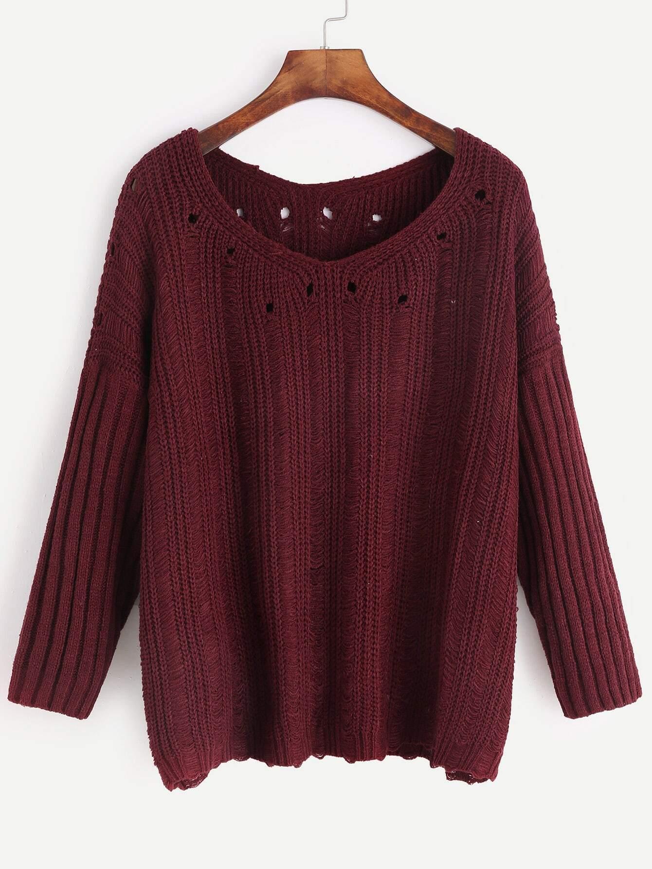 V Neck Drop Shoulder Eyelet Ribbed Knit Sleeve Sweater