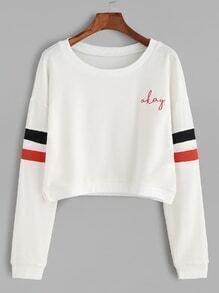 White Varsity Stripe Letter Embroidered Crop Sweatshirt