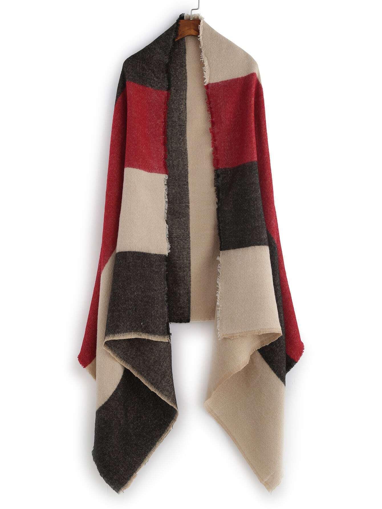 Colorblock Raw Edge Long Shawl Scarf scarf161026010