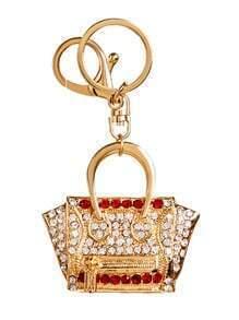 Gold Plated Mini Handbag Rhinestone Keychain