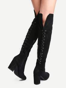 Buy Black Point Toe Tie Back Knee Boots