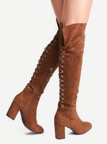 Buy Brown Point Toe Tie Back Knee Boots