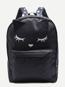 Cute Fox Black Nylon Front Pocket Backpack