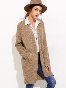 Khaki Raglan Sleeve Cardigan With Pockets