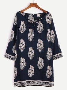 Tunika-Kleid Tribal Druck Schleife am Ausschnitt-marine