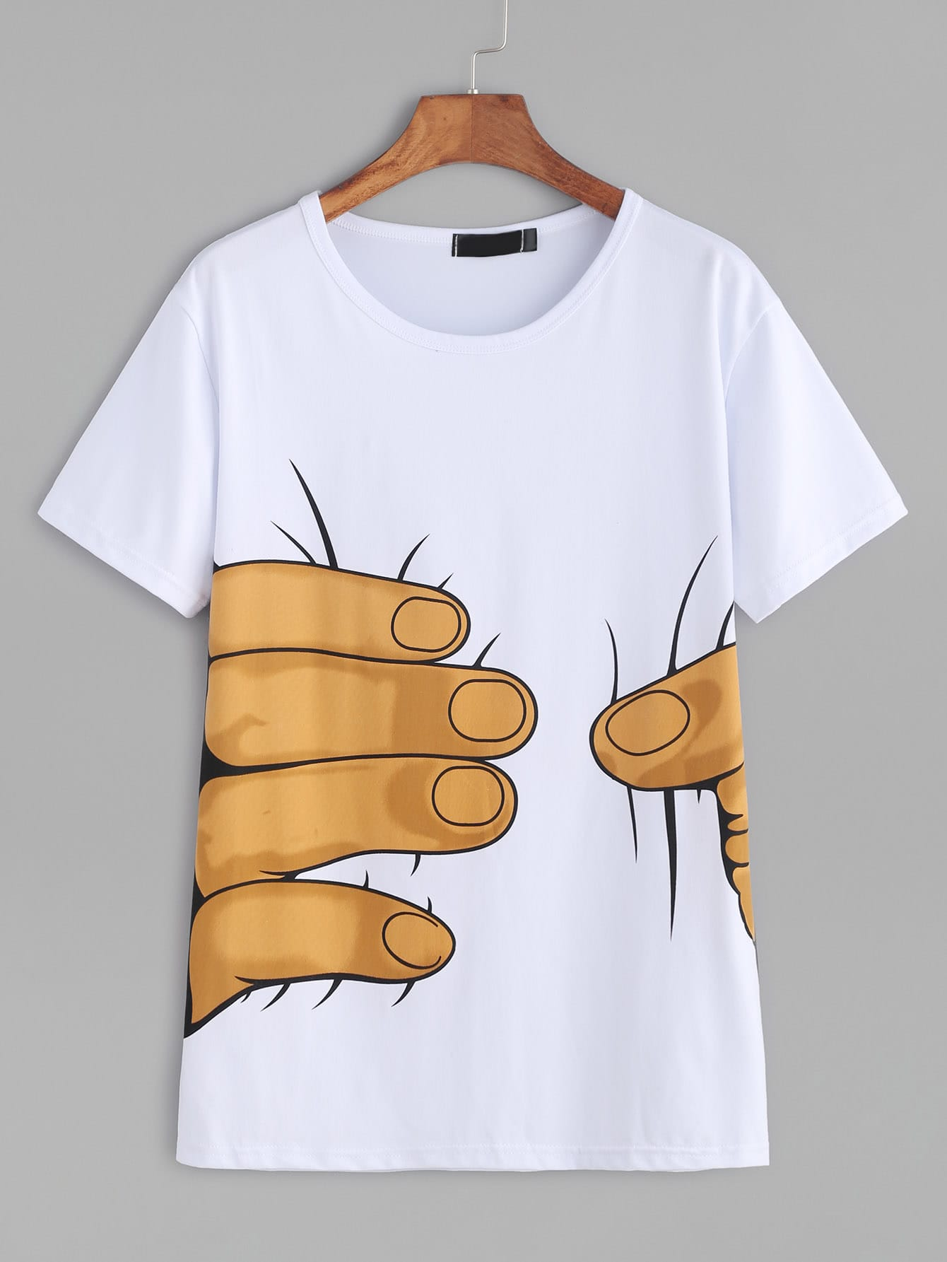 White Hand Print Short Sleeve T Shirt