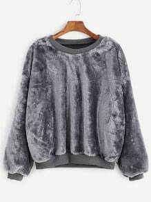 Grey Dropped Shoulder Seam Fuzzy Sweatshirt