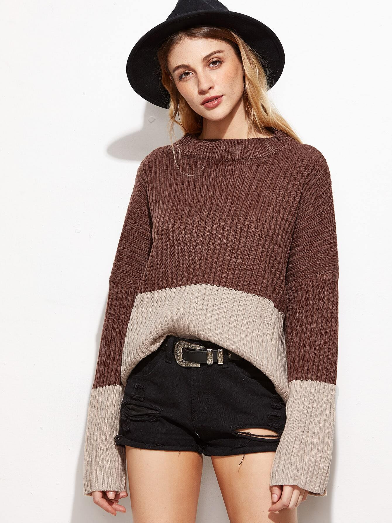 Contrast Crew Neck Drop Shoulder Ribbed Knit Sweater