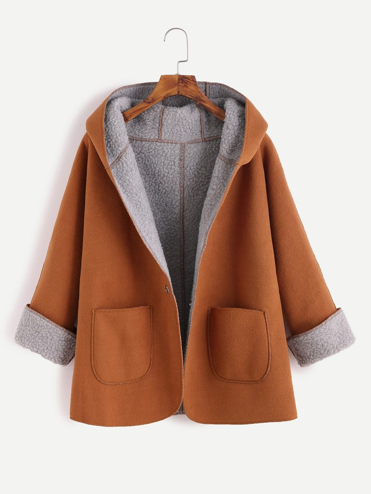 黃褐色 對比色 長毛絨 內襯 單紐扣 連帽 外套