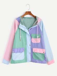 Color Block Raglan Sleeve Pockets Drawstring Hooded Coat