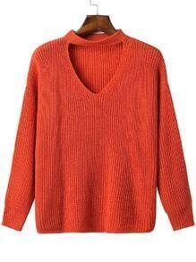 Jersey escote V con gargantilla - rojo