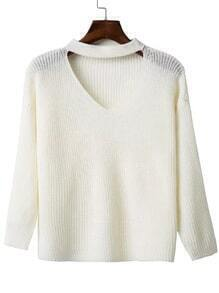 White Choker V Neck Drop Shoulder Sweater