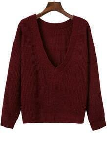 Burgundy Ribbed V Neck Drop Shoulder Sweater