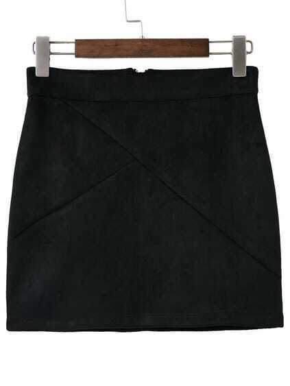 Black Zipper Back Mini Skirt
