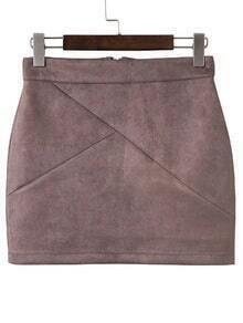 Jupe mini dos avec zip - brun