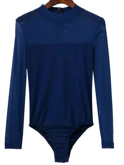 Blue Mesh Crew Neck Zipper Bodysuit