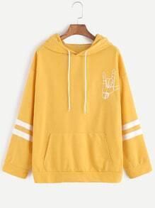 Sudadera con estampado de gesto de amor con capucha - amarillo