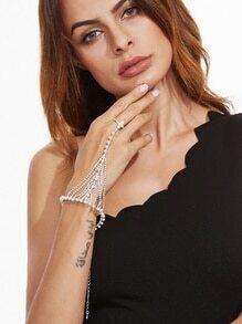 Cadena de mano con perla de imitación y apliques de abalorios - blanco