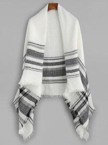 Echarpe châle en tartan à rayure avec frange - noir et blanc