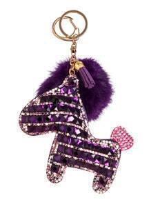 Porte-clés avec poney stras pompon - pour foncé