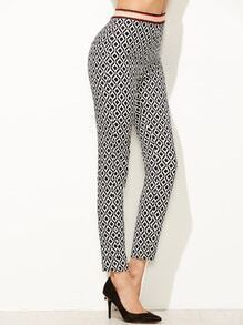 Black And White Geometric Print Zipper Back Ankle Pants