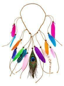 Multicolor Boho Feather Braided Beaded Hair Accessory