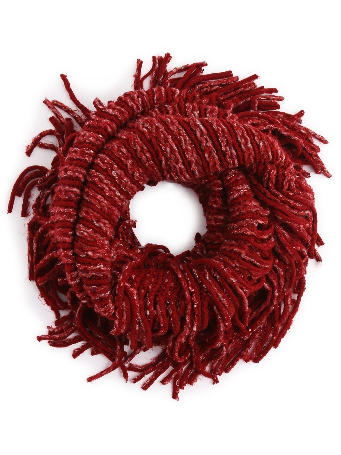 Red Ribbed Textured Fringe Knit Infinity Scarf