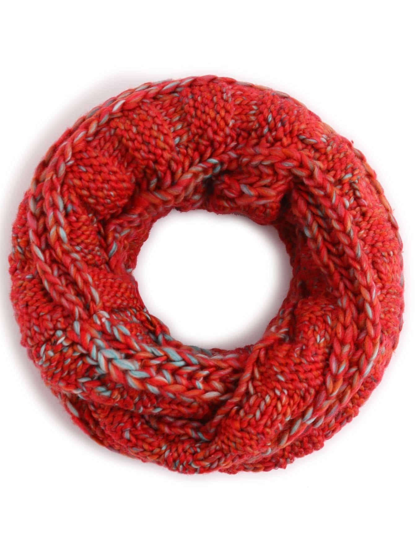 Red Ribbed Marled Chunky Knit Infinity Scarf